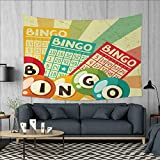 Anniutwo Vintage Dorm Decor Bingo Game with Ball and Cards Pop Art Stylized Lottery Hobby Celebration Theme Tapestry Table Cover Bedspread Beach Towel W71 x L60 (inch) Multicolor