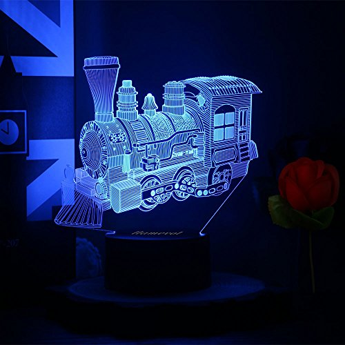 Toy Train Night light for Kids LED Table Lamp 3D Illusion Optical Car Steam Train Locomotive Engine Birthday Gifts for Men Girls Boys Adults Toddler Baby 7 Color Nursery Vintage Easter Children