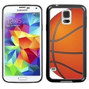 One Tough Shield ? Hybrid Flexible/Rigid TPU Phone Case (Black Bezel) for Samsung Galaxy S5 S-V - (Basketball)