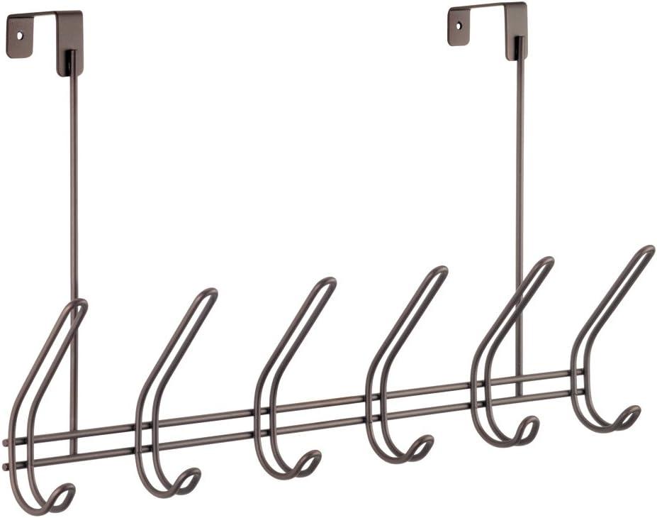 InterDesign Classico Over Door Organizer Hooks – 6 Hook Storage Rack for Coats, Hats, Robes or Towels, Bronze