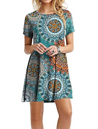 MOLERANI Women's Casual Swing Summer Dresses Round Neck T Shirt Floral Dress