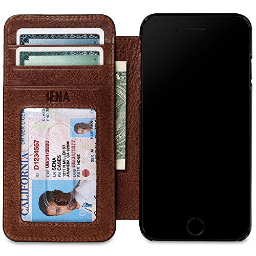 - Sena Cases Genuine Leather Wallet Book iPhone 8 Plus / 7 Plus / 6 Plus (Heritage Cognac)