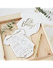 Ginger Ray OB-104 White and Gold Foiled Baby Shower Advice Cards Pack (10 Piece)