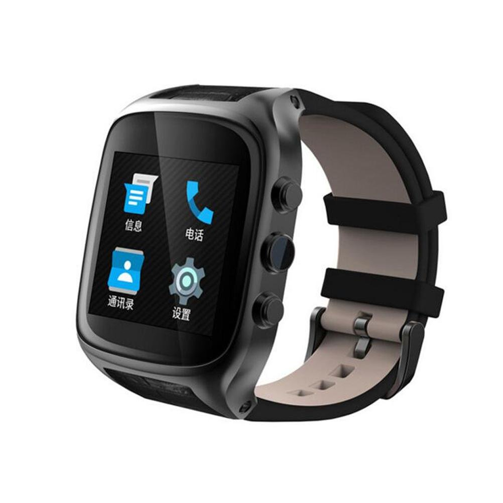 X01S Bluetooth Smart Watch Phone Sports Watch Fitness Watch with SIM Card Slot,Camera,Call/SMS/Twiter/Facebook/Email Notification,Alarm Clock,HD Touch Screen,Leather Strap for Android Phones , black by L@YC