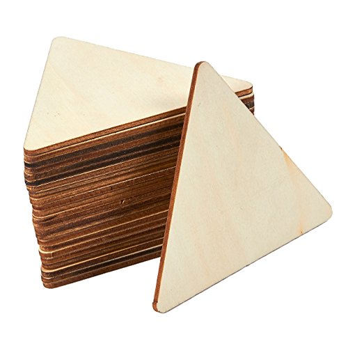 Unfinished Wood Cutout - 24-Pack Triangle Shaped Wood Pieces for Wooden Craft DIY Projects, Gift Tags, Home Decoration, 3.6 x 3.1 x 0.1 inches