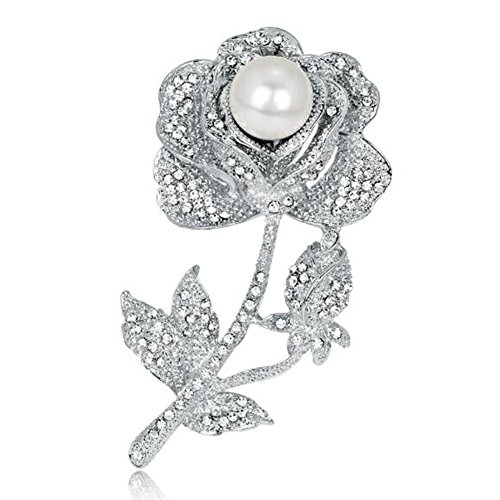 KENFULTILE Wedding Crystal Brooches Rose Flower Bouquet for Women Simulated Pearl Brooch Suits Pin