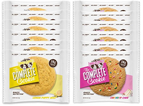 Lenny & Larry's The Complete Cookie - 6 Lemon Poppy Seed and 6 Birthday Cake (Pack of 12)