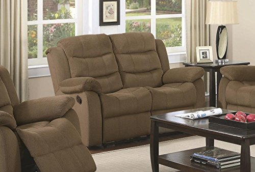Coaster Home Furnishings 601885 Two-Tone Rodman Motion Collection Motion Loveseat, Tan
