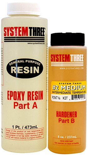 System Three 0102K40 Medium Amber General Purpose Epoxy Kit with #2 Medium Hardener, 1.5 pint Bottle
