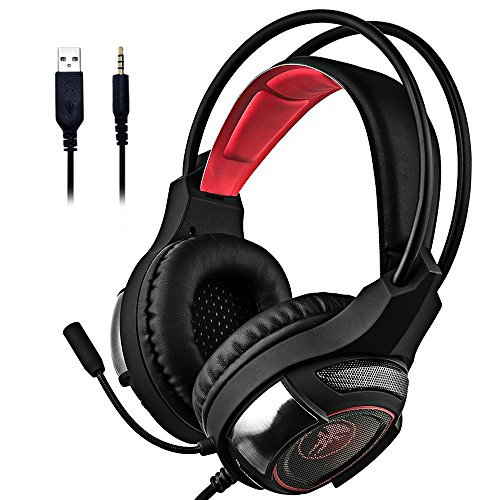 51VOyYKHNmL - Dinly PS4 Gaming Headset with Mic, 3.5mm Stereo Over Ear Headphones with Volume Control & Noice Cancelling for Playstation 4 / Xbox One / Nintendo Switch / PC / Tablet / Smartphone