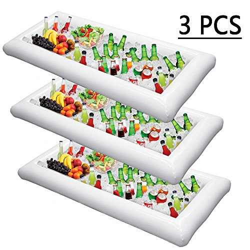 Inflatable Serving Bar Salad Ice Tray Food Drink Containers -- BBQ Picnic Pool Party Supplies Buffet Luau Cooler,with a drain plug (Food Tabletop Bar)