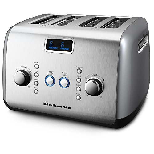 KitchenAid KMT423CU 4-Slice Toaster with One-Touch Lift/Lower and Digital Display - Contour Silver (Kitchenaid Red Toaster Oven compare prices)