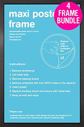 GB Posters 4 Black Maxi Poster Frames 61x91.5cm Bundle: Amazon.co.uk ...