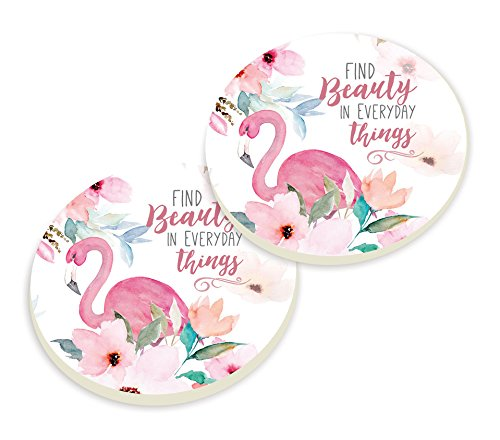 Find Beauty in Everyday Things Flamingo Watercolor 3 x 3 Ceramic Car Coasters 2 Pack