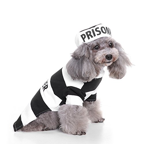 Prisoner Dog Pet Costumes (PetBoBo Pet Dog Cat Prisoner Halloween Party Fancy Tidy Costume for Dog Cat Jacket Apparel M)