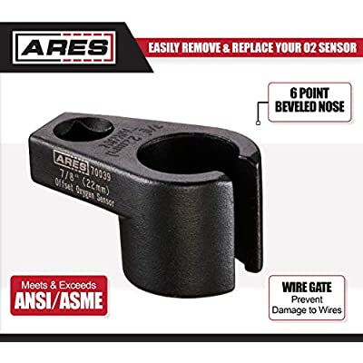 ARES 70039-3/8-Inch Drive by 7/8-Inch (22mm) Offset Oxygen Sensor Socket - Wire Gate Accesses Sensor from Side, Preventing Damage to Wires: Automotive