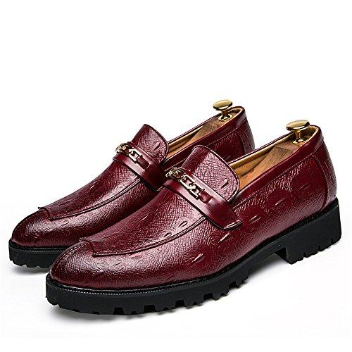 Classic formali Uomo EU Oxford Business Scarpe traspiranti Accessori metallo da Dimensione Casual Pelle Color 38 Rosso Xiaojuan uomo Scarpe shoes in Youth Nero Fashion waYOOBq