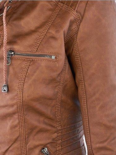 Vintage Zip Giacchetto Giacca Pu Invernale Classico Biker Cappuccio Soprabito In Fantigo Marrone Con E Pelle tTPqpp