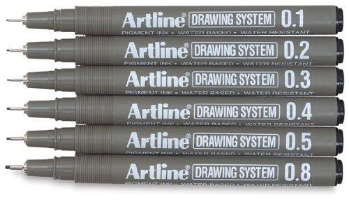 Artline Drawing Fineliner Pens, Drawing System, Set of 6 Pens (0.1 mm, 0.2 mm, 0.3 mm, 0.4 mm, 0.5 mm, 0.8 mm)
