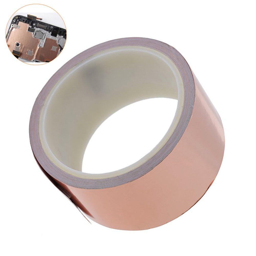 KOBWA Copper Foil Tape(2inch x 6.5ft), Conductive Adhesive Copper Tape for Guitar & EMI Shielding, Slug Repellent, Crafts, Electrical Repairs, Grounding,Paper Circuits - Thicker Foil (2inch X 33 FT)