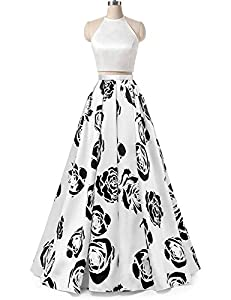 Vanial Women's Black Lace Prom Dress Floral Satin Formal Evening Gowns with Sleeves V245