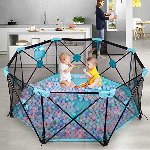 Hadwin Baby Playpen, 8 Panel Foldable and Portable Play Yard for Baby Toddlers, Large Activity Centre with Breathable…