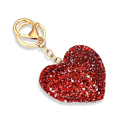 TIKCOOL Glitter Keyrings Keychains for Women Girls Sequin Pendant Charms Key Chain for Car Bag Purse Wallets 3-D Love Heart Hanging Key Ring Decoration (Glitter Red)