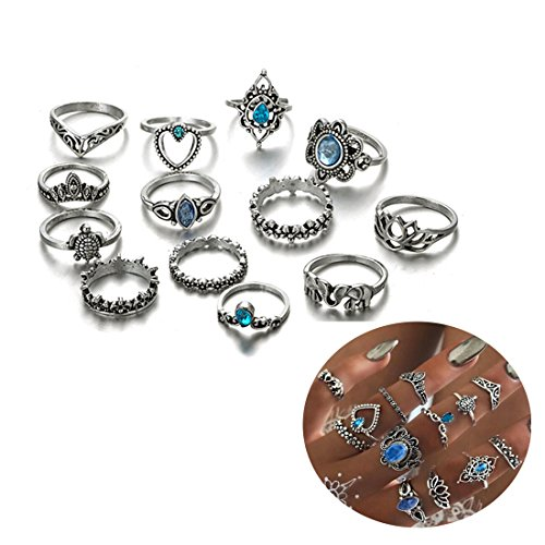 - ANGELANGELA Luxury Vintage Assorted Stacking Rings Set, Antique Silver Gemstone Joint Above Knuckle Nail Midi Band Statement Stackable Cuff Toe Finger Ring (13Pc/Set blue sea)