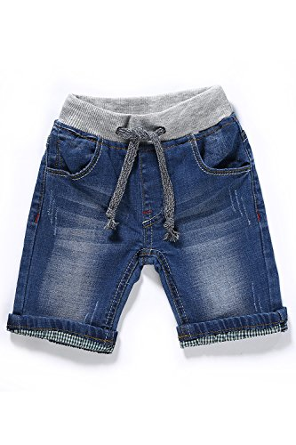 LITTLE-GUEST Baby Boys' Summer Knee-Length Jeans Shorts Toddler Elastic Waist Drawstring Waistband Denim Pants B210(NLBlue 24-30 Months)