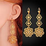 GDSTAR Long Drop Earrings Elegant Jewelry igh Quality Flower Wedding 18K Gold Plated Earrings