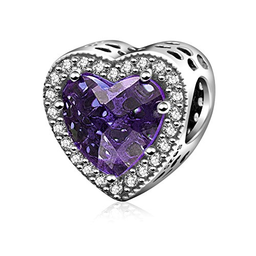 ABUN Radiant Heart Charm with Red and Clear CZ 925 Sterling Silver Love Charm for Bracelet, (Purple)