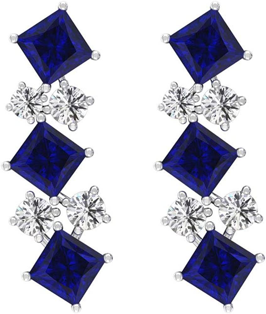 Pendiente de gota de zafiro azul de 1,2 quilates, 0,20 quilates certificado IGI, Pendiente colgante de diamante de corte princesa, IJ-SI claridad de color, tornillo hacia atrás