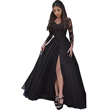 Chady Womens Lace Appliques Black Prom Dresses 2018 Illusion Long Sleeves Split Backless Formal Party Gowns