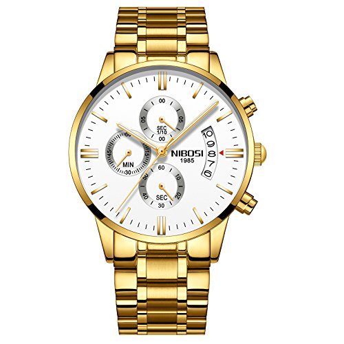 (NIBOSI Men Watch Chronograph Sport Mens Watches Top Brand Luxury Waterproof Full Steel Quartz Gold Clock Men Relogio Masculino (Gold-White))