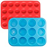 Silicone Muffin Cupcake Baking Pan Set, SENHAI 2 Pack (24&12 Cups) Cake Molds Ice Cube Trays for Gumdrop Jelly Chocolate Bread Soap Wax, Available in Oven Fridge Microwave Oven Freezer