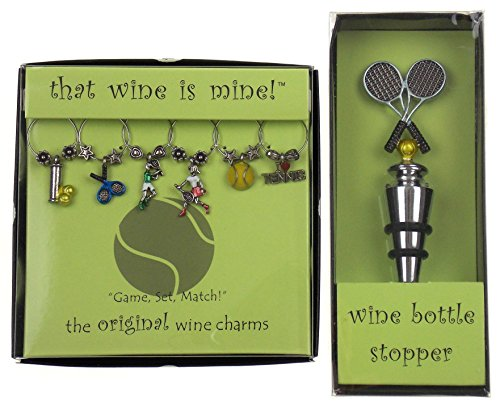 - Tennis Themed Wine Charms & Tennis Racket Bottle Stopper Bundle