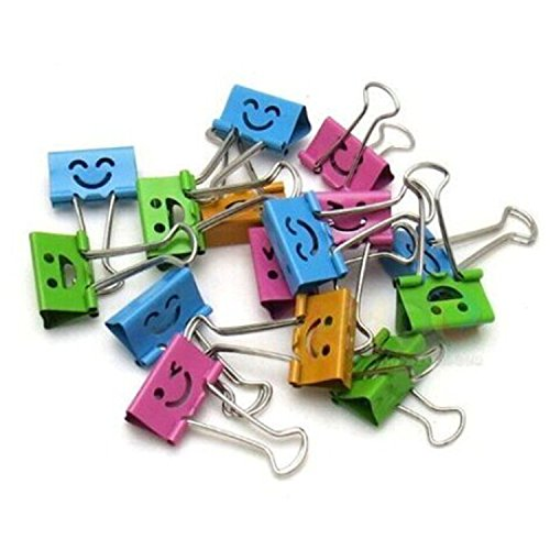 (Smiling Binder Clips ,19mm ,Assorted Colors ,40 Clips per Tub)