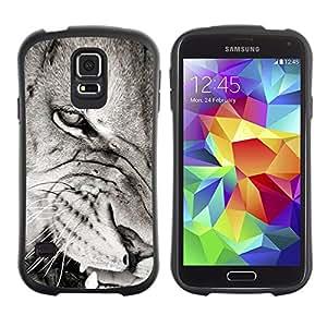 LASTONE PHONE CASE / Suave Silicona Caso Carcasa de Caucho Funda para Samsung Galaxy S5 SM-G900 / Angry Lion Teeth Black White Nose