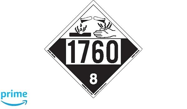 Pack of 25 Labelmaster ZVR41760 UN 1760 Corrosive Hazmat Placard Removable Vinyl