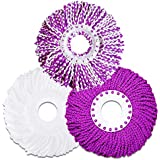Microfiber Cotton Replacement Mop Head - 3 Pack Refills Compatible With 360° Magic Spin Mops - Round Shape Standard Size Multicolor Removable Accessories