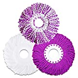 LEMNUY Microfiber Cotton Spin Mop Heads Replacement - 3 Pack Refills Compatible 360 Spinning Magic Mops - Round Shape Standard Size Multicolor Removable Easy Washings