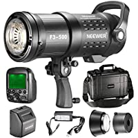 Neewer 500W 2.4G HSS Dual TTL(i-TTL and e-TTL) Outdoor Flash Strobe Light for Canon Nikon, with 2.4G Wireless Trigger, Rechargeable Li-ion Battery (550 Full Power Flashes) Bowens Mount F3-500