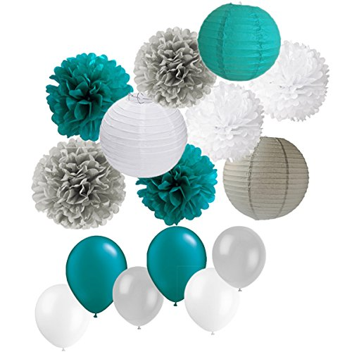 39PCS Teal Gray Baby Boy Shower Party Mixed Tissue Pom Poms Paper Lantern Balloons for 1st Birthday Wedding Bridal Shower Nursery -