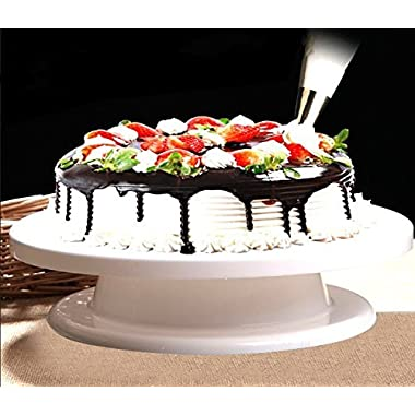 Ohuhu Cake Turntable/ Revolving Cake Decorating Stand / Cake Stand, Elegant White