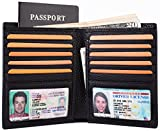 Multi-Purpose Big Capacity Credit Card Holder Travel Wallet 2 ID Window Genuine Leather RFID Blocking