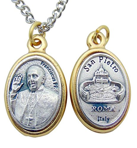 - Pope Francis Embossed Medal 3/4 Inch Silver Tone Metal on 24 Inch Stainless Steel Chain Gift