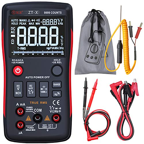 Display Digital Multimeter - Bside True RMS Digital Multimeter 3 Line Display 9999 Counts Button Design Auto-Ranging Electricians DMM Temperature Capacitance Voltmeter with Alligator Clip
