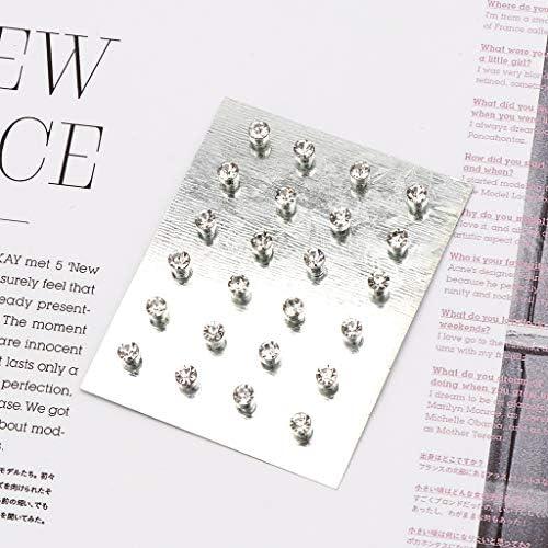 Tebatu Women Earrings,Crystal Rhinestone Magnetic Clip Non Piercing Earring Jewelry 12 Pairs