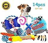 BUIBIIU Dog Toys, Dog Chew Toys Puppy Teething Toys Puppy Chew Toys Balls Ropes Squeaky Toys 14 Pcs Gift
