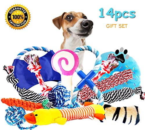 BUIBIIU Dog Toys, Dog Chew Toys Puppy Teething Toys Puppy Chew Toys Balls Ropes Squeaky Toys 14 Pcs Gift